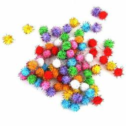 Lot 100pcs Glitter Tinsel Pompom Balls Small Pom Ball Cat Pu