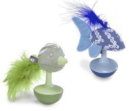 Lot of 2 Cat Kitten Catnip Feather Wobble Toy Toys Fish & Bi