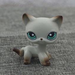 LPS Short Hair Cat Rare Toys Gray Kitty Green #391 Girl Gift