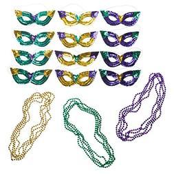 Neliblu Mardi Gras Party Supplies Accessory Set, 1 Dozen Seq