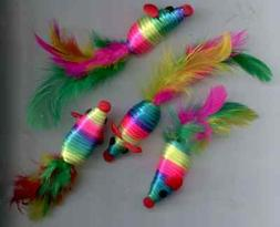 mice cat toy rattle feather tail sisal