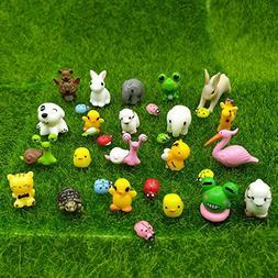EMiEN 31 Pieces Mini Animals Miniature Ornament Kits Set,Sna
