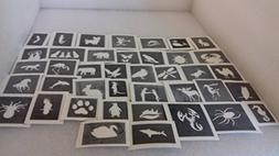 40 x mini animals themed stencil mix for etching on glass ho