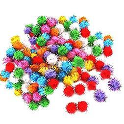 SODIAL 100 pcs Mini Colorful Sparkly Glitter Tinsel pompon B
