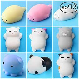 Outee Mochi Squishy Cat Toys, 9 Pcs Animal Stress Relief Min