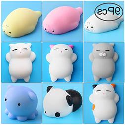 Outee Mochi Squishy Cat Toys, 9 Pcs Squishy Animal Stress Re