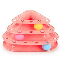 Monper Pet Cat Toy Tower Tracks Ball Bat Chase Toy Cats Inte