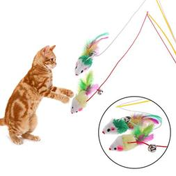 Kalttoyi False Mouse Cat Toy Plastic Rod Elastic Rope Play P