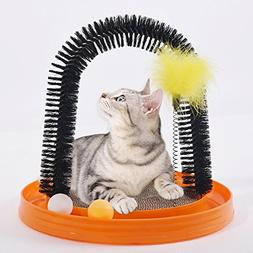 AMOMI PET Multi-Use Cat Scratch and Groom Pad with Self Groo