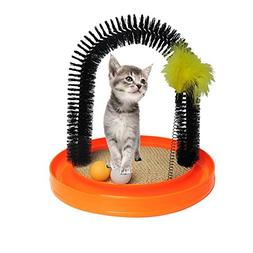 Fensng Multi-Use Cat Scratch and Groom Pad with Self Groomin