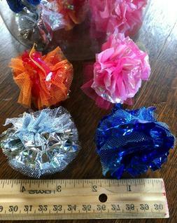 MYLAR & TULLE BALLS CAT TOYS - Lots 2/5/10/24 Shiny Crinkle