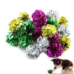 TKOnline 20 Pack Mylar Crinkle Balls Cat Toys Interactive Sh