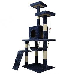 "Navy Blue 57"" Cat Tree Condo Furniture Scratch Post Pet Hous"