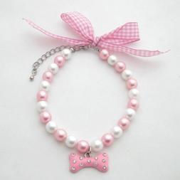 PetFavorites Necklace with Bling Pearls Rhinestones Bone Cha