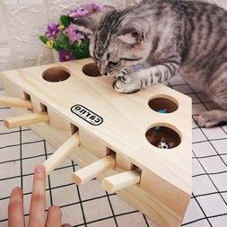 NEW Pet Cat Dog Hunt Toy Indoor Wooden Interactive 5-holed M