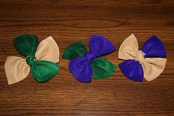 New Set of 6 Mardi Gras Purple, Gold, Green Handmade Knotted