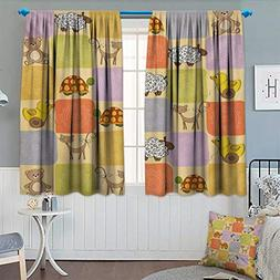 Nursery Patterned Drape Glass Door Toys Animals in a Checker