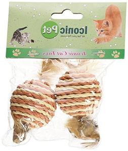 Iconic Pet 12 Pieces Paper Rope Ball with Feather Tail Patte