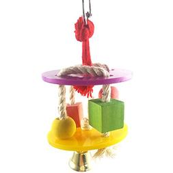 Wildgirl Parrot Cage Hanging Toys Acrylic Wood Cotton Rope C