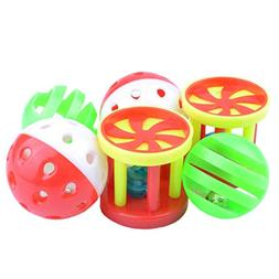 6 Pack Parrot Food Toys Chewing Playing Training Bell Ball B
