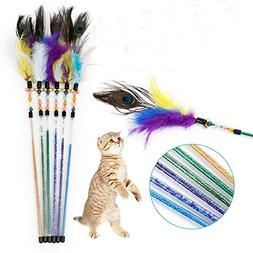 3 Pack Peacock Feather Wand Cats Interactive Toys Stick Rod