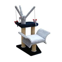 Penn Plax Cat Tree Tower, Navy Cat Tree, Lounger, and Scratc
