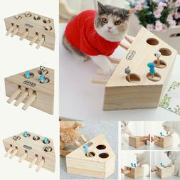 Pet Cat Dog Hunt Toy Indoor Wooden Interactive Mouse Seat Sc