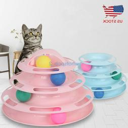 Pet Cat Interactive Toy Balls Crazy Ball Trilaminar Tower of