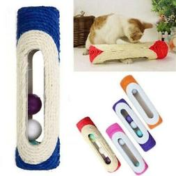 Pet Cat Kitten Kitty Rolling Sisal Scratching Post 3 Trapped