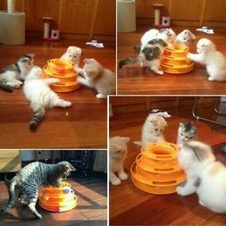 Pet Cat Kitty Dog Motion Ball Disk Trilaminar Plate Toy Amus