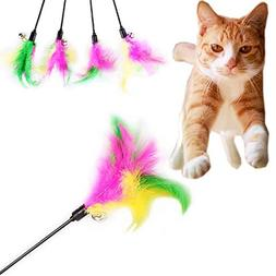 pet cat teaser fancy feather