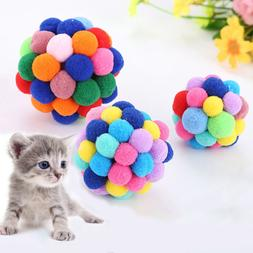 Pet Cat Toy Colorful Handmade Bell Bouncy Ball Built-In Catn