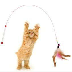 Pet Cat Toy Cute Design Steel Wire Feather Teaser Wand&Bells