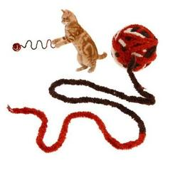 Pet Cat Toy Long String Rope Plush Ball Rolling Playing Inte