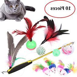 Old Tjikko Pet Cat Toys,Interactive Cat Toys 10 Pieces,Retra