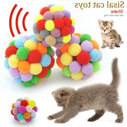 Pet Cat Toys Colorful Ball With Bell Sound Interactive Ball
