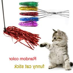 Pet Cat Toys Cute Colorful Ribbon Funny Rod Wand Plastic Toy