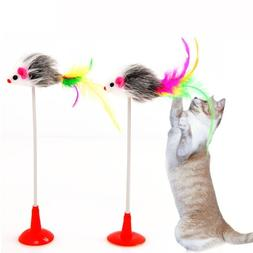 Pet Cat Toys Feather False Mouse Bottom Sucker Cat Kitten Pl