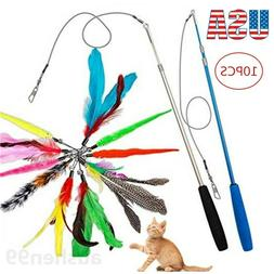Pet Cat Toys Feather Wand Rod Balls Pet Kitty Play Funny Tea