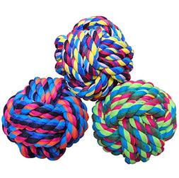 Wellbro Dog Rope Toy, Colorful Woven Cotton Puppy Chew Toy,
