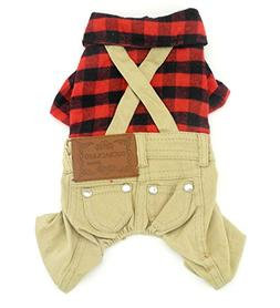 SMALLLEE_LUCKY_STORE Pet Clothes for Small Dog Cat Red Plaid