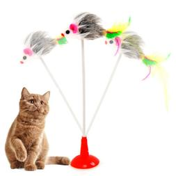 Pet Dog Cat Toys Funny Play Spring Mouse Colorful Feather St
