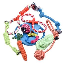WOLFWILL 10 Pack Pet Dog Chew Rope Toy Assortment Set Teeth