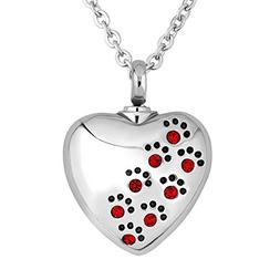 LuckyJewelry Cremation Pet Dog Paw Print Urn Necklace Ashes