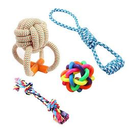 Ennc Pet Dog Rope Chew Toys 4 Pack Set, Puppy Soft Cotton Ba