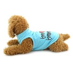 SELMAI Pet Clothes I Love Mommy Print Tank Tops Shirt Summer