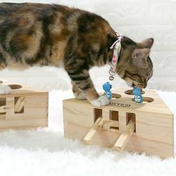Pet Indoor Solid Wooden Cat Hunt Toy Interactive 3/5-holed M
