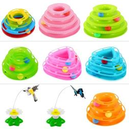 Cat Toys Gifts Electric Rotate Butterfly/Birds Ball Track In