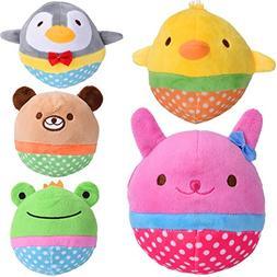 Zerlar Pet Plush Toys Squeaky Doll Cute Ball Chick Frogs Bir