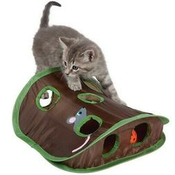 Cat Mice Bell Tent w/9 Holes Pet Hide Foldable Tunnel Intera